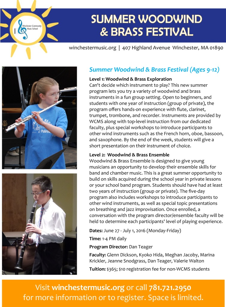 Woodwind and Brass Summer 2016 flyer